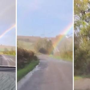 虹の終端を通り抜ける!ドライブ中の4人に訪れた思わぬ幸運