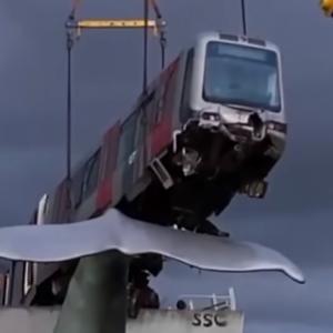 電車が約10メートル上空のクジラの尻尾のオブジェに引っ掛かる(オランダ)