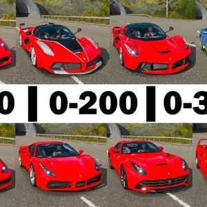 FH4 Acceleration Battle   Ferrari Laferrari, FXXK, 488 GTB, 458 S, F12 TDF, F12, Enzo & F40!