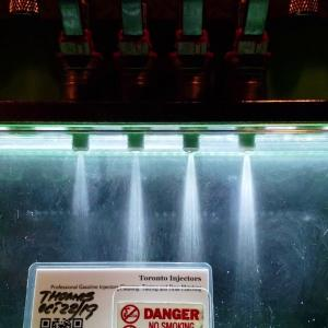 1988 Mazda RX7 Turbo 2 Denso 19550-1370 injectors spray pattern test at Toronto Injectors