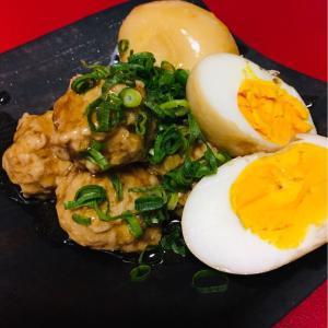 鶏つくねとゆで卵の甘辛親子煮