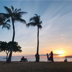 アラモアナビーチパークの夕焼けが大好き♡