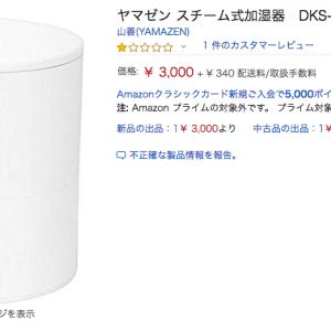 Amazonで今日売れたもの NO.3 ヤマゼンスチーム式加湿器 DKS-A254-W