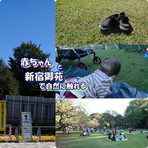 赤ちゃんと新宿御苑で自然に触れあう