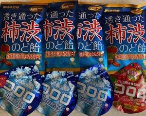 透き通った柿渋のど飴/コロロ ストロベリー・コロロ ソーダ