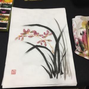 勉強のため水墨画の講座に行って来ました。