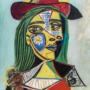 帽子と毛皮の襟をつけた女 パブロ・ピカソ