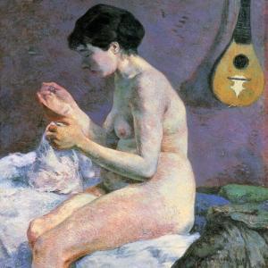 裸婦習作(縫い物をするシュザンヌ) ポール・ゴーギャン