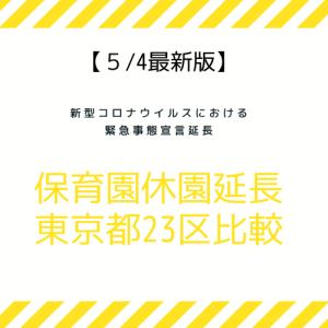 【最新】緊急事態宣言延長で保育園休園延長。東京都23区を比較。