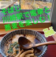 川崎駅で電車を見ながら蕎麦をすする 2歳児の記録