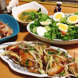 □鯖の竜田揚げ□野菜たっぷりスープ□サラダの献立
