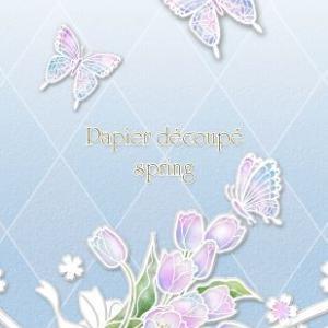 白い切り絵風*春