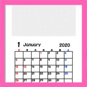 令和2年 写真フレーム入り背景透過月間カレンダー 日曜始まり 無料ダウンロード・印刷