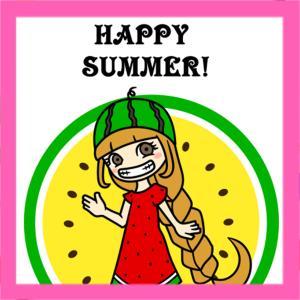 スイカの暑中見舞い2020年 無料テンプレート 印刷してご自由にお使いください