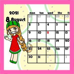 令和3年フルーツ月間カレンダー 月曜始まり 無料ダウンロード・印刷