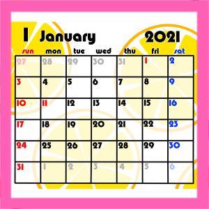 2021年果物柄月間カレンダー 日曜始まり 無料ダウンロード・印刷