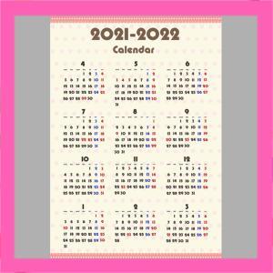 令和3年ガーリーデザイン 4月始まり 年間カレンダー シンプル 無料ダウンロード・印刷