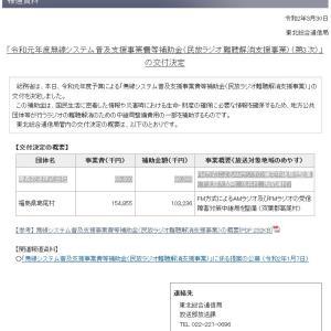 民放ラジオ難聴解消支援事業の交付を決定-東北総通