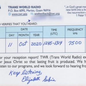 2020年10月11日 KTWR受信のQSL