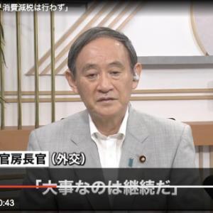 菅官房長官 消費減税は行わない「大事なのは継続」コロナ対策