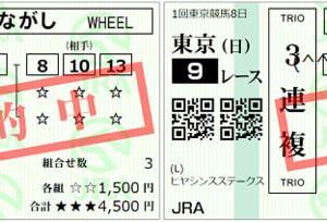 2020ヒヤシンスステークス結果(3連複780円,ワイド300円的中)