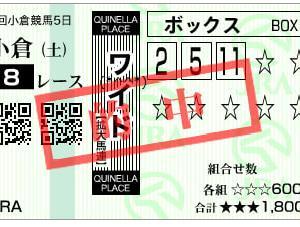 2020小倉サマージャンプ結果(ワイド590円的中)