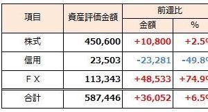 2019年2月3日週 資産運用 週次報告(前週比+6.5%)