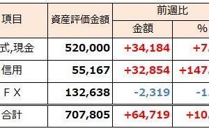 2019年2月17日週 資産運用 週次報告(前週比+10.1%)