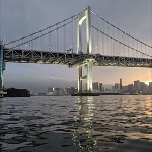 日本橋クルージング。夕日とレインボーブリッジは綺麗でした