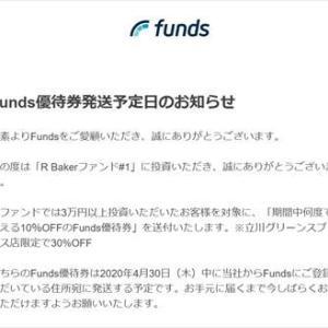 Fundsから、Funds優待券が送付されるとのこと。問題は店が開店しているかどうか