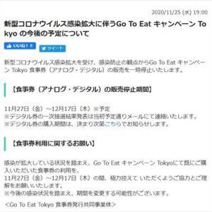 「Go To Eat キャンペーン Tokyo デジタル食事券」の当選と延期
