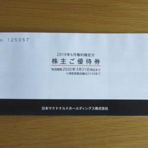 マクドナルドから株主ご優待券が届きました。