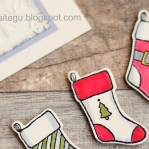 もう1枚の靴下カード。【Holly Jolly Christmas】