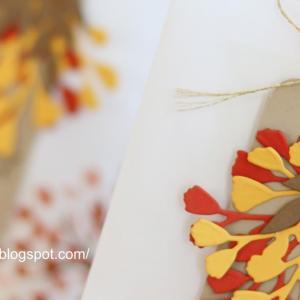 秋の葉っぱの贈り物セット。【紙袋、タグ、カード】