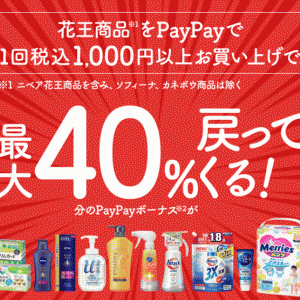 花王の商品をPayPayで買うと最大40%戻ってくる!2020年9月1日(火)から