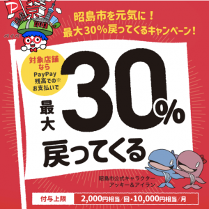 昭島市でPayPay(ペイペイ)がお得!2021年10月31日(日)まで最大30%戻ってくるキャンペーン実施中