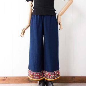 【新着】華やか裾♪ モン族刺繍ヘムのワイドパンツ