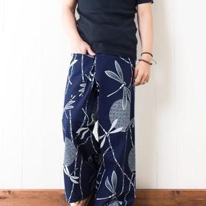 【新着】藍の和風柄 タイパンツ