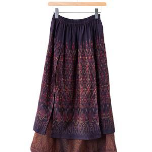 【新着】色柄の違う2種類のマドミーオールドタイシルクを楽しむ2枚重ねロングスカート