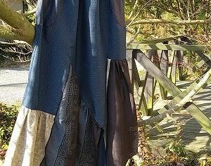 大島紬のチュニックをギャザースカートにリメイク!