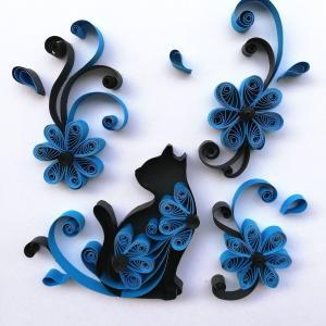 ペーパークイリングで『黒猫と青い花』