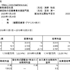 萩原工業(7856)|19年10月期ざっくりレビュー