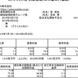 日本社宅サービス(8945)|19年6月期決算ざっくりレビュー