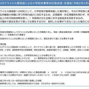 新型コロナウイルス感染症による小学校休業等対応助成金・支援金(令和2年4月以降)
