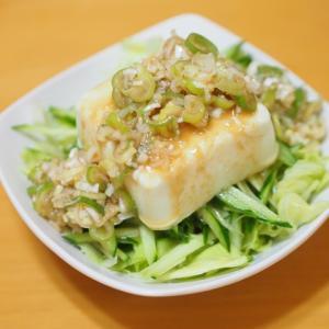 豚バラのみそ炒めとネギ味噌たれの冷ややっこサラダ