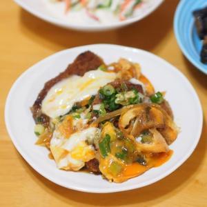 茄子の味噌炒めとかつ煮