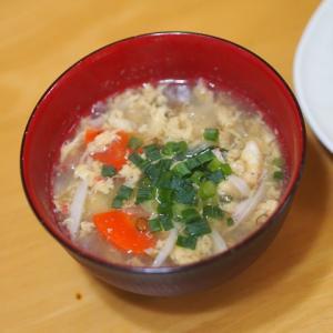 野菜いろいろ玉子中華スープとおむすび