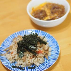 炊き込みご飯とレンチンかつ煮