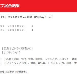 【カープ試合結果】2020年6月13日[ソフトバンク4-5広島]練習試合