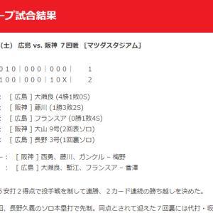 【カープ試合結果】2020年8月8日[広島2-1阪神]